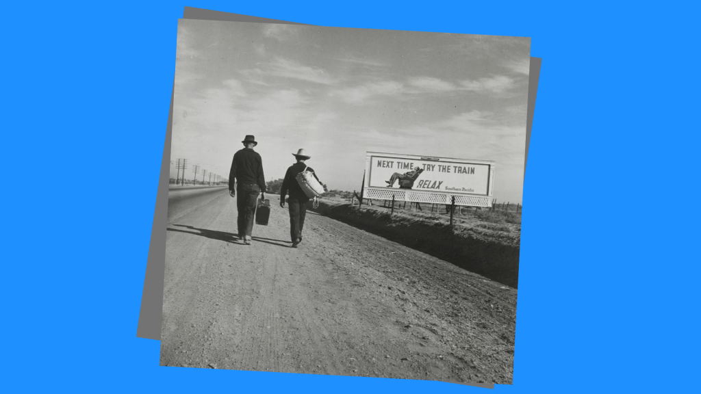 copertina con due persone in cammino su una strada